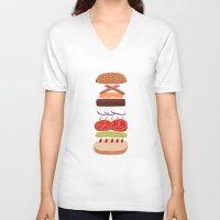 burger V-neck T-shirts featuring Burger by Andrew Mashanov