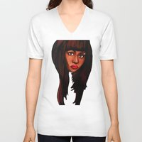 nicki V-neck T-shirts featuring Watch the queen conquer by Papa-Paparazzi