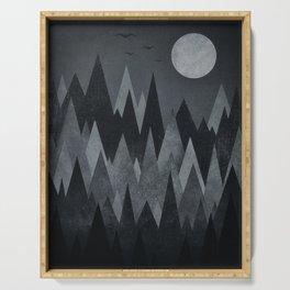Dark Mystery Abstract Geometric Triangle Peak Wood's (black & white) Serving Tray