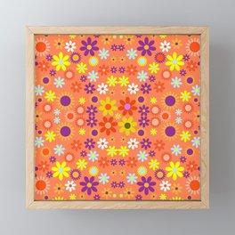 Living Coral Colorful Floral Pattern Framed Mini Art Print