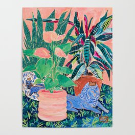 Jungle of House Plants Blush Still Life Painting with Blue Lion Figurine Poster