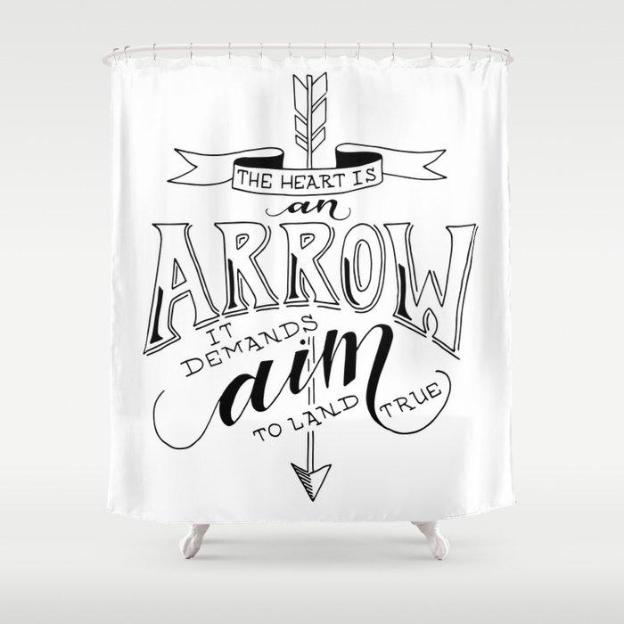 The Heart Is An Arrow Shower Curtain