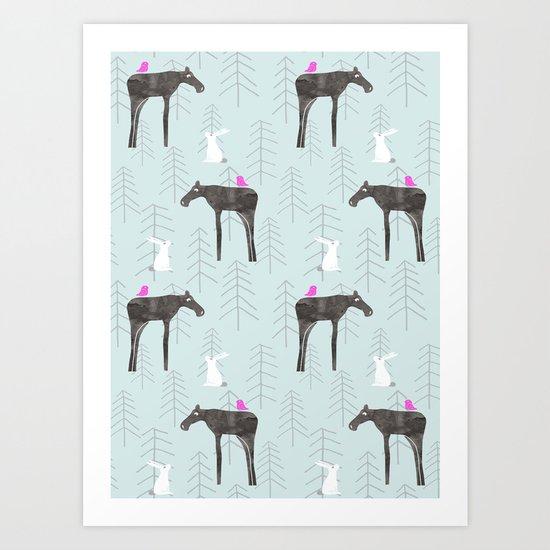 Once I met a moose Art Print