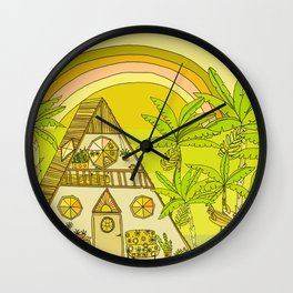a frame simple living // banana pancakes // retro surf art by surfy birdy Wall Clock