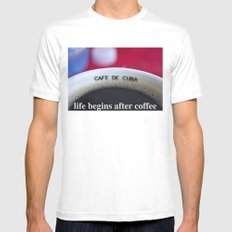 life begins after coffee Mens Fitted Tee White MEDIUM