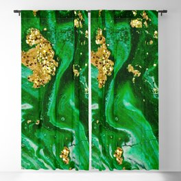 Neon Green and Gold Acrylic Painting Blackout Curtain