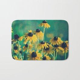 Emerald and Topaz Summer Botanical -- Prairie Coneflower / Mexican Hat Flower Bath Mat
