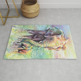 Colorful Mother Elephant and Baby Rug