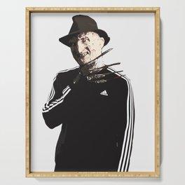 Freddy..neddy krueger horror acrylic painting street art Serving Tray
