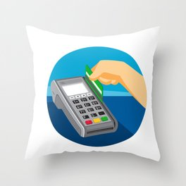 Hand Swiping Credit Card on POS Terminal Retro Throw Pillow