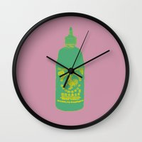 sriracha Wall Clocks featuring Sriracha, The hot sauce boss  by Tricia Robinson