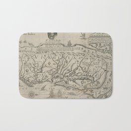 Vintage Map of Virginia (1651) Bath Mat