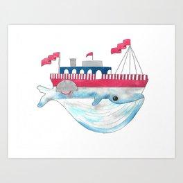 Paddle Boat Whale Art Print