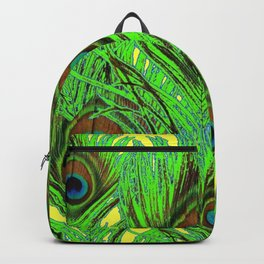 YELLOW-GREEN PEACOCK FEATHERS ABSTRACT ART Backpack