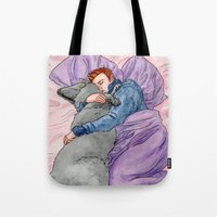 sterek Tote Bags featuring Sleepy Sterek by lloydoholic