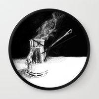 arabic Wall Clocks featuring Arabic Coffee by Camille Gilbert