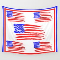 american flag Wall Tapestries featuring American Flag by Art by Samantha Perez