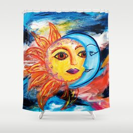 Sun and Moon United Shower Curtain