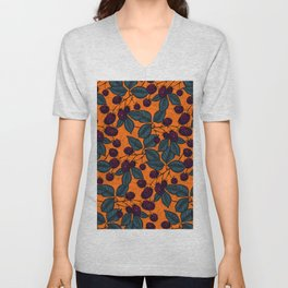 Blackberry hand- drawn pattern Unisex V-Neck