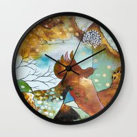 """flora bowley Wall Clocks featuring """"Two Hearts"""" Original Painting by Flora Bowley by Flora Bowley"""