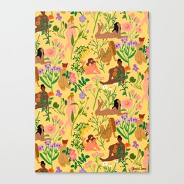 Nudes & Flowers Pattern Canvas Print