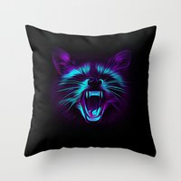 raccoon Throw Pillows featuring Raccoon by Asya Solo