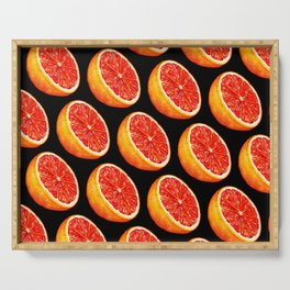 Grapefruit Pattern - Black Serving Tray