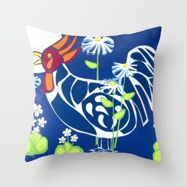 White Violet Rooster Throw Pillow