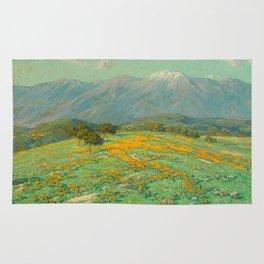 Granville Redmond snow cap spring landscape painting orange flowers green field Rug