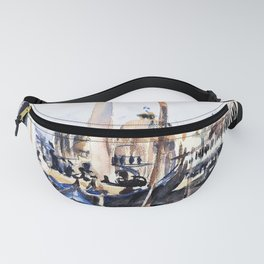 13,000px,500dpi-John Singer Sargent - The Piazzetta with Gondolas - Digital Remastered Edition Fanny Pack