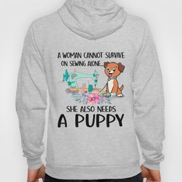 Funny Woman And A Puppy Hoody