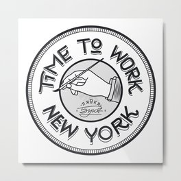 Time to work NY. Engrave style. Metal Print