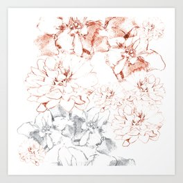 Penciled in Floral Art Print