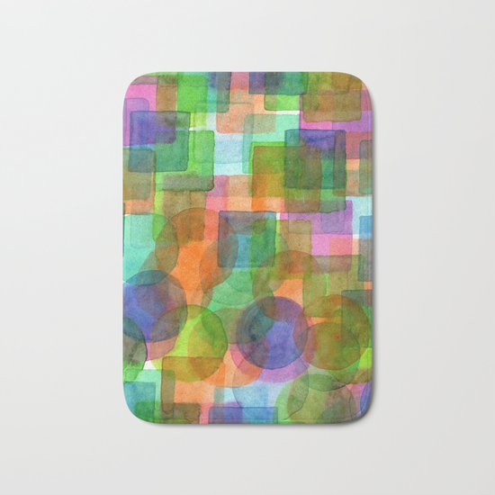 Befriended Squares and Bubbles Bath Mat