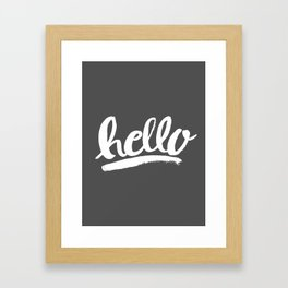 Hello Hand lettering - Dark Gray Framed Art Print