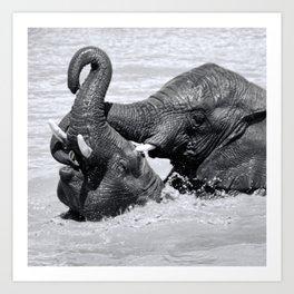 Elephants joy Art Print