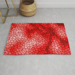 Stained glass texture of snake red leather with bright heat spots. Rug