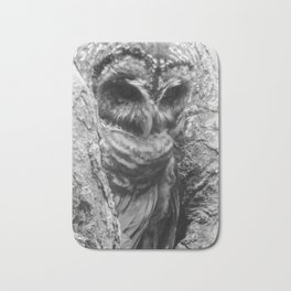 Black and White Owl Close Up Bath Mat