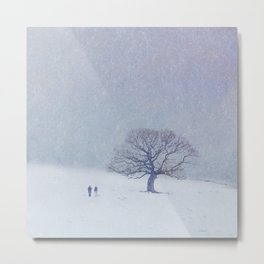 A walk in the snow. Metal Print