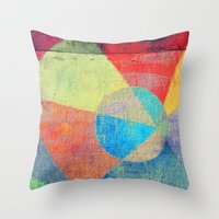 volleyball Throw Pillows featuring Beach Volleyball by Fernando Vieira
