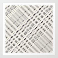 Pattern lines mosaic black and white Art Print