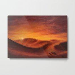 Sunset in the dunes of Sahara desert Metal Print