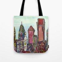 philadelphia Tote Bags featuring Philadelphia Skyline by Britt Miller Art