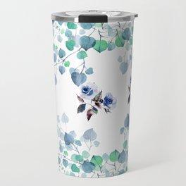 Blue Fall Rose Blooms Travel Mug