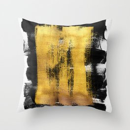 Gilded Ink 1 - black and white ink strokes, gold leaf Throw Pillow
