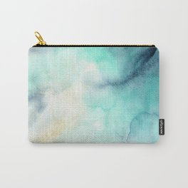 Indigo Turquoise Watercolor Abstract Painting Carry-All Pouch