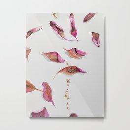 Pink dried leaves  Metal Print