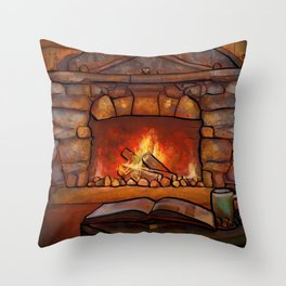 Fireplace (Winter Warming Image) Throw Pillow