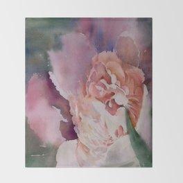 Tender Peony Watercolor Throw Blanket