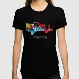 London Fun Cityscape Watercolor T-shirt